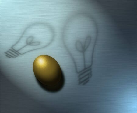 Ideas represented by shadows and a golden egg represents wealth