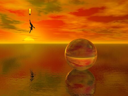 overlook: A figure floats about a watery surface while holding a bulb balloon
