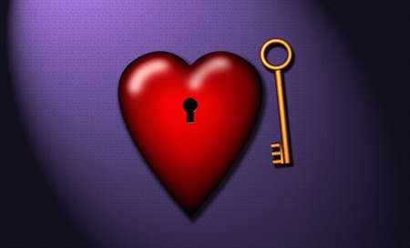 A golden key and a heart photo