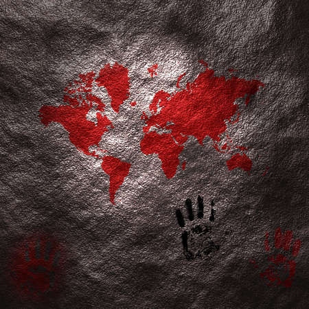 0 geography: A map of the world is painted on the surface of a cave along with handprints