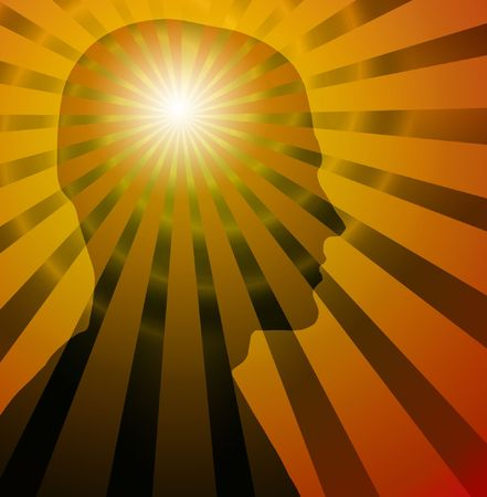 Beams & spiral radiate from silhouette of a head