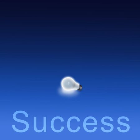 Lit Bulb on blue and Success Stock Photo - 834872