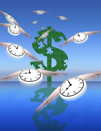 tock illustration: Time and Money Stock Photo