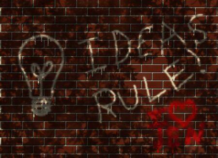 cogitate: Ideas Rule! and Light bulb grafitti on wall