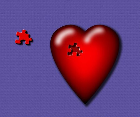 A red heart with a puzzle piece missing photo