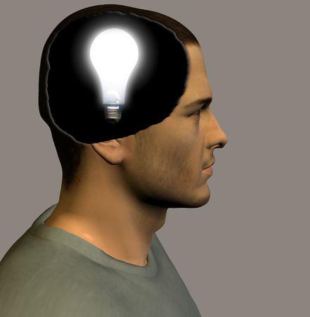 brainwaves: Idea bulb inside head
