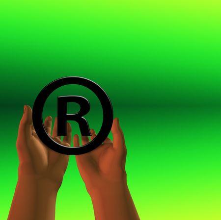 Registered symbol on green photo