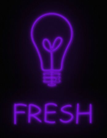 glows: Fresh Ideas, Get them Here, A neon sign glows light bulb and FRESH