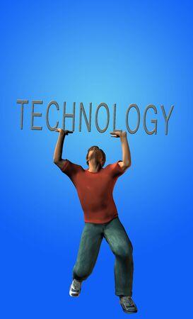 strains: Man strains under burden of technology