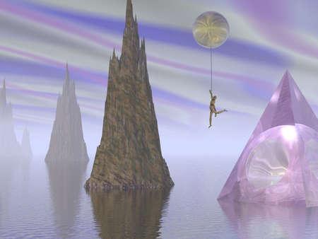 cogitate: A figure floats in a alien landscape