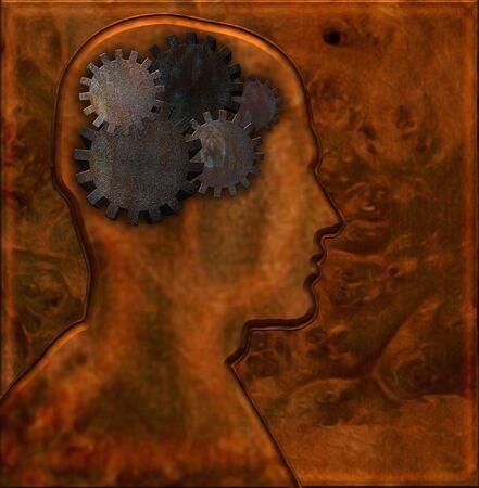 Gears inside head with mettalic background Stockfoto