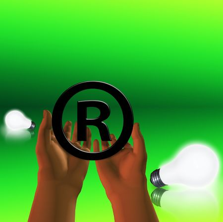 Registered symbol with lit bulbs