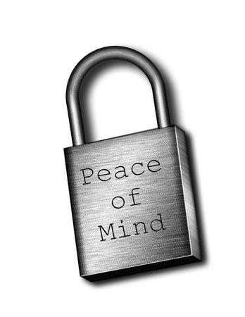 Illustrated padlock inscribed with words Peace Of Mind Stock Photo - 834729