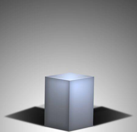 파란색 상자가 극적인 환경에 앉아있다. 스톡 콘텐츠