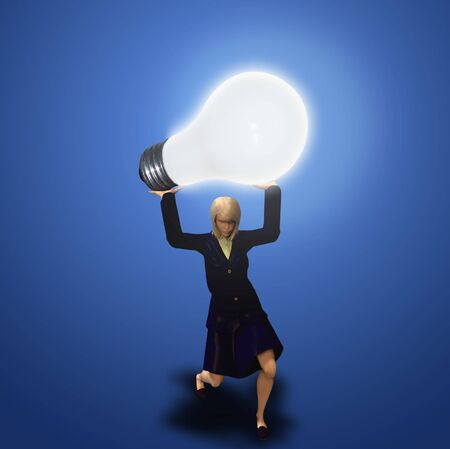 A woman holds up a heavy lit bulb photo
