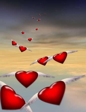 Winged hearts in flight