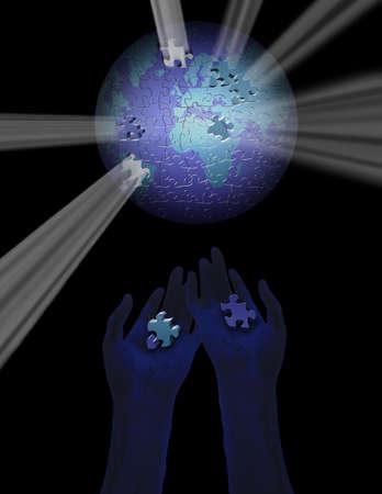 Puzzel stukje aarde met lichtstralen Stockfoto