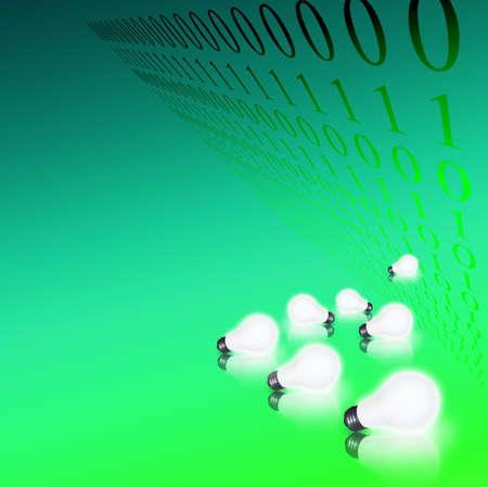 Lit bulbs and binary code photo