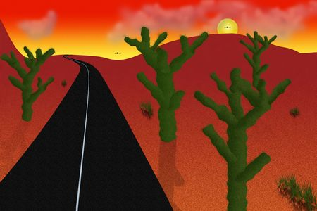 desert road: Desert Road Illustration