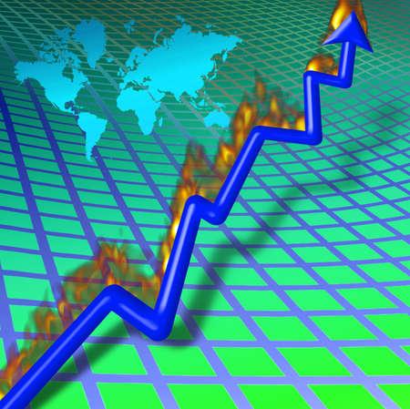 Chart with burning upward arrow photo