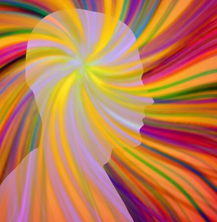 머리에서 여러 가지 색조의 광선이 나온다.