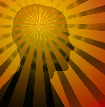 brain mysteries: Beams & spiral radiate from silhouette of a head