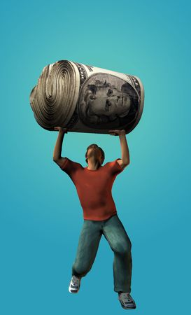 hold up: Man struggling to hold up a large roll of US cash Stock Photo