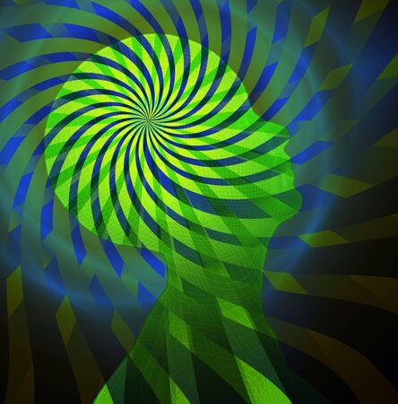 psique: Alucin�genas como la visi�n de la cabeza Foto de archivo