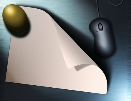 Gold Egg, Computer Mouse and paper 版權商用圖片 - 839745