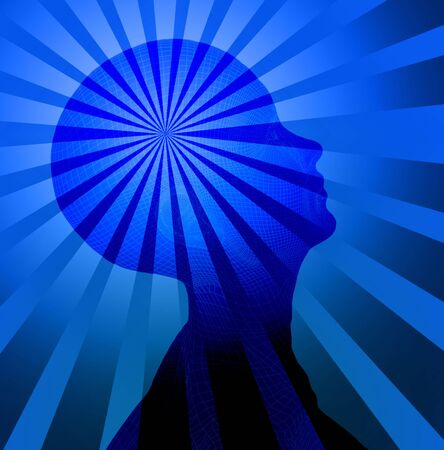 Deep blue head and rays Stock Photo - 839756