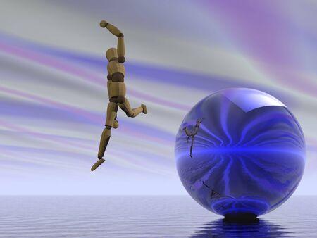 Manikin leaping