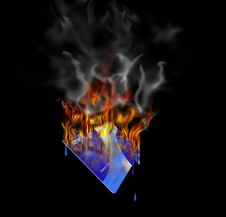 bankcard: Burning credit card  Stock Photo