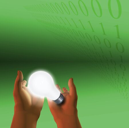 cogitate:  Binary code and lit bulb