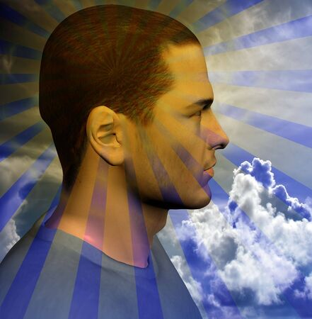 chi healer:  Rays beam out from a mans head Stock Photo
