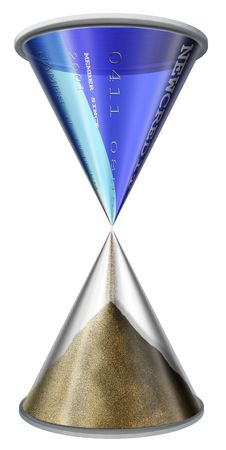 hard sell: Credit Card Hourglass on white Stock Photo