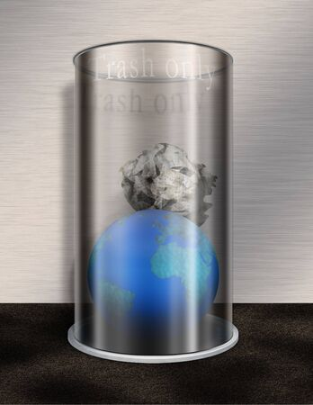 Earth and trash in glass pail Stock Photo - 843658