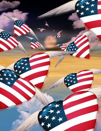spangle: Winged USA hearts in flight Stock Photo