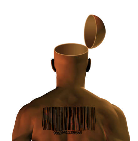 minded: Open mind with barcoded man Stock Photo