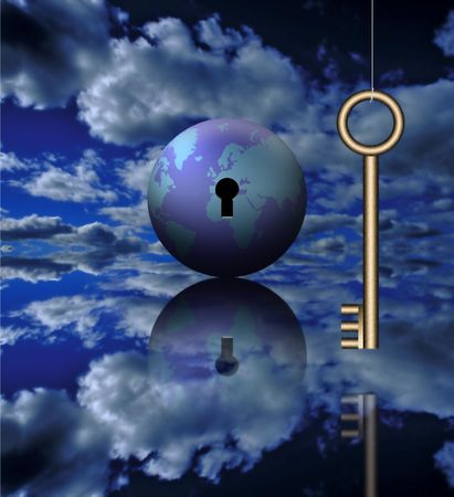 A key and the globe