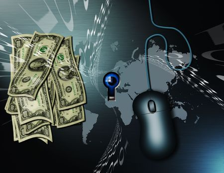 thru: Cash, a pc mouse, binary code and a map of the earth. All being watched by the peering eye seen thru the keyhole.