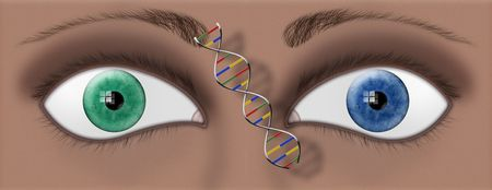Closeup of two different colored eyes and a DNA strand between photo