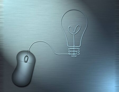 A computer mouse wire turns into the shape of a lightbulb photo