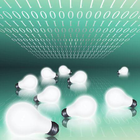 Binary code and field of lit bulbs