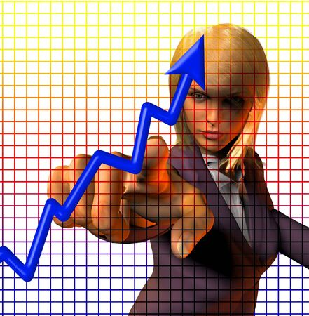 Woman in suit points at chart photo