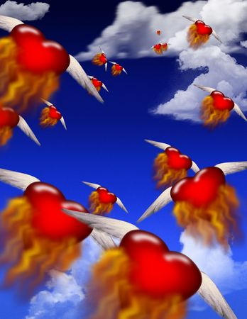 Winged burning hearts fly toward an unknown destination Stock Photo - 874908