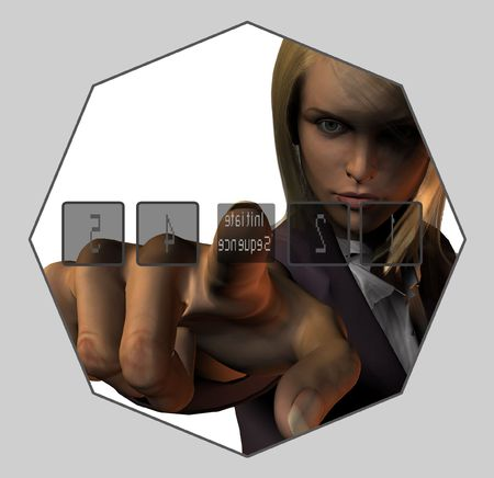 initiate: A woman presses a button to initiate sequence