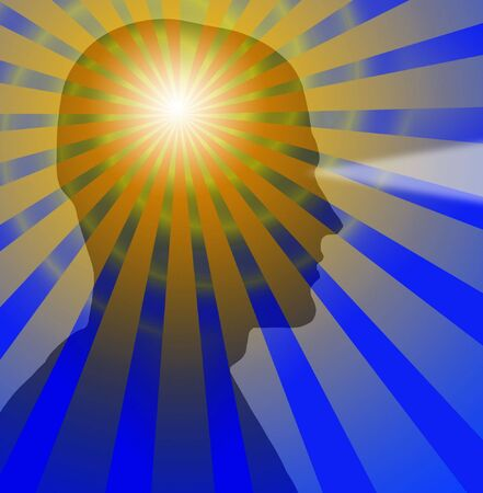brain mysteries: Beams radiate from a sillouette of a head