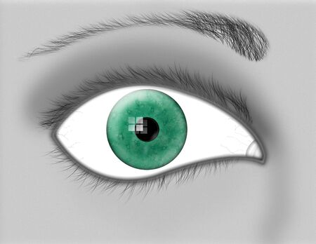 A green iris peers at the viewer out of a grayscale closeup of the eye