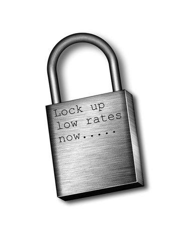 Lock up low rates now... Padlock Stock Photo