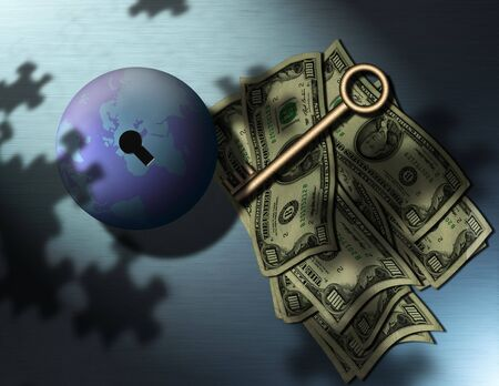 Money, a key, the globe, puzzle piece shadows
